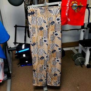 Magic jr's sz medium tannish & blue leggings pants